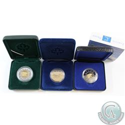 1987 Proof Loon Dollar, 1996 Proof Two Dollar, and 1996 Piedfort Two Dollar. Coins come encapsulated