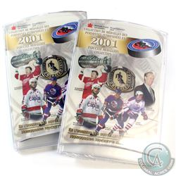 SEALED Pair of RCM 2001 Hockey Hall of Fame 5-coin Sets. 2 sets