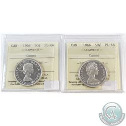 1964 & 1966 Canada 50-cent ICCS Certified PL-66 Cameo. 2pcs.