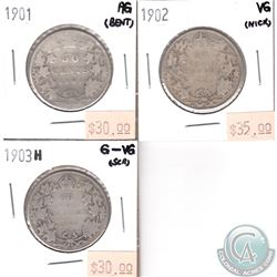 1901 AG, 1902 VG, 1903H G-VG Canada 50-cent (Impaired) 3pcs.