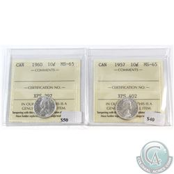 1957 & 1960 Canada 10-cent ICCS Certified MS-65. 2pcs.