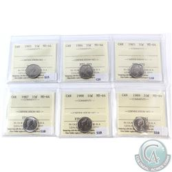 1983-1989 Canada 10-cent ICCS Certified MS-64. You will receive the following dates: 1983, 1984, 198