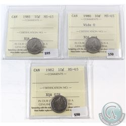 1980 Wide 0, 1981 & 1982 Canada 10-cent ICCS Certified MS-65. 3pcs.