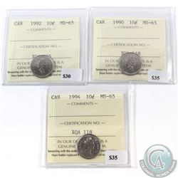 1990, 1992 & 1994 Canada 10-cent ICCS Certified MS-65. 3pcs.