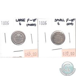 1886 Large 6 & 1886 Small 6 Canada 5-cent F-VF (impaired) 2pcs.