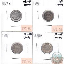 Group Lot 1882-1890 Canada 5-cent (impaired) You will receive the following dates: 1882H VG-F, 1888