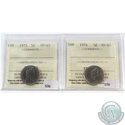 1973 & 1974 Canada 5-cent ICCS Certified MS-65. 2pcs.