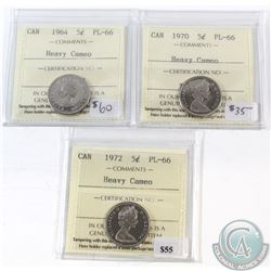 1964, 1970, 1972 Canada 5-cent ICCS Certified PL-66 Heavy Cameo. 3pcs.