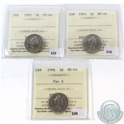 1992, 1993, 1996 Far 6 Canada 5-cent ICCS Certified MS-64. 3pcs.