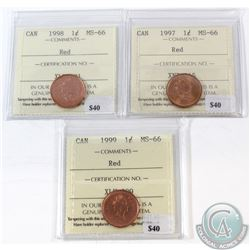 1997, 1998, 1999 Canada 1-cent ICCS Certified MS-66 Red. 3pcs.