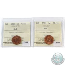 1984 & 1989 Canada 1-cent ICCS Certified MS-66 Red. 2pcs.