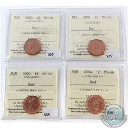 Group Lot 2000-2004 Canada 1-cent ICCS Certified MS-66 Red. You will receive the following dates: 20