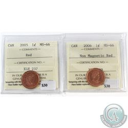 2005 & 2006 Non Mag. Canada 1-cent ICCS Certified MS-66 Red. 2pcs.