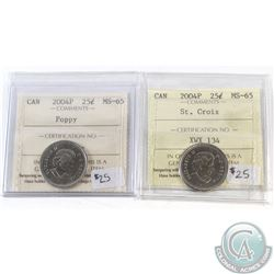 2004P St. Croix & 2004P Poppy 25-cent ICCS Certified MS-65. 2pcs.