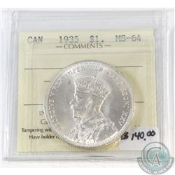 1935 Canada $1 ICCS Certified MS-64