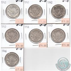 Group Lot 1940-1946 Canada 50-cent VF-EF. You will receive the following dates: 1940, 1941, 1942, 19