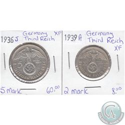1936J 5 Mark & 1939A 2 Mark German Third Reich Coins in XF Condition as per holders. 2pcs