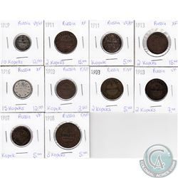 Lot of 10x Russian Coinage Dated 1903-1916 in F-VF to XF as per holders. 10pcs