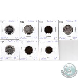 Lot of 7x Austrian Coinage Dated 1894-1911 in F to UNC as per holders. 7pcs
