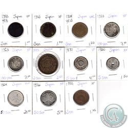 Lot of 11x Japanese Coinage Dated 1875-1963 in F to UNC as per holders. 11pcs