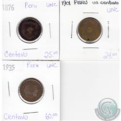 Lot of 3x Peruvian Coinage Dated 1876, 1901 & 1935 in UNC as per holders. 3pcs