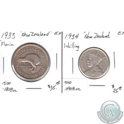 1933 Florin & 1934 Shilling New Zealand Coins in EF as per holders. 2pcs
