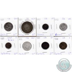 Lot of 8x Great Britain Coinage Dated 1827-1943 in VG-F to UNC as per holders. 8pcs
