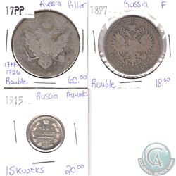 Lot of 3x Russian Coinage Dated 17?? (1777-1796), 1897 & 1915 in Filler, Fine or AU-UNC as per holde