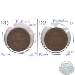 1913 VF-EF & 1934 EF Australian Pennies as per holders. 2pcs