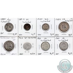 Estate Lot of 8x Swiss .835 Silver Coinage Dated 1880-1964. 8pcs