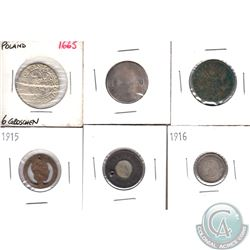 Estate Lot of 6x Various World Coinage. The oldest date is 1665, as per holder. 6pcs