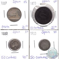 Lot of 4x Spanish Coinage Dated 1869-1900 in VG to XF as per holders. 4pcs