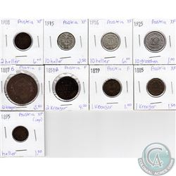 Lot of 9x Austrian Coinage Dated 1807-1925 in F to XF as per holders. 9pcs