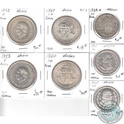 Estate Lot of 7x Mexican Silver Coinage Dated 1938-1965. 7pcs
