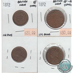 1892 British India 1/2 Piece in EF (corrosion) & 1892 British India 1/4 Anna in EF-AU (Spots). 2pcs