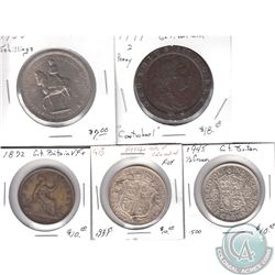 Lot of 5x Great Britain Coinage Dated 1797-1953 with 2 Coins being Silver. 5pcs
