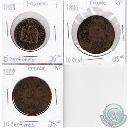 Lot of 3x French Coinage Dated 1863, 1886 & 1889 in F or XF as per holders. 3pcs