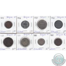 Lot of 8x Belgian Coinage Dated 1837-1943 in VG to VF as per holders. 8pcs