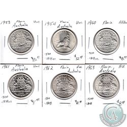 Estate Lot of 6x Australian Silver Florin Coinage Dated 1953-1963 in AU to UNC as per holders. 6pcs