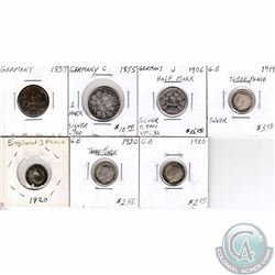 Estate Lot of 7x German and Great Britain Silver Coinage Dated 1837-1920. 7pcs