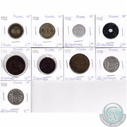 Lot of 9x French Coinage Dated 1853-1942 in VF or XF as per holders. 9pcs