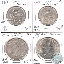 Estate Lot of 4x 1966 Bahamas .800 Silver Coinage 50-cent & $1. 4pcs
