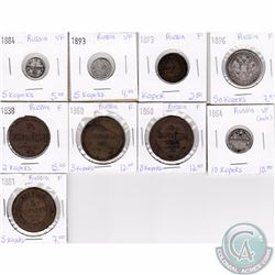 Lot of 9x Russian Coinage Dated 1838-1896 in F or VF as per holders. 9pcs