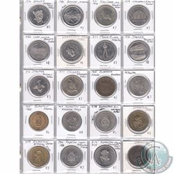 Estate Lot of 20x Various Alberta Trade Dollars and Medallions Dated 1965-1986 in Plastic Page. 20pc