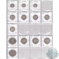 Estate Lot of 13x New Zealand Silver Coinage Dated 1933-1946 in Plastic Page. 13pcs