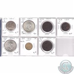 Estate Lot of 7x Spanish Coinage Dated 1870-1966 in Plastic Page. 3 coins are Silver. 7pcs