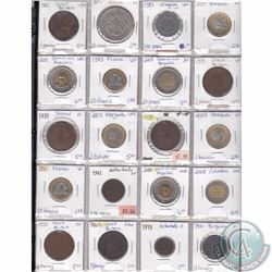 Lot of 20x Miscellaneous World Coinage Dated 1863-2008 in Plastic Page. 20pcs