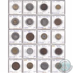 Lot of 20x Miscellaneous World Coinage Dated 1915-2008 in Plastic Page. 20pcs
