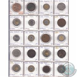 Lot of 20x Miscellaneous World Coinage Dated 1889-2008 in Plastic Page. 20pcs