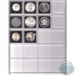 Lot of 8x Various Larger Sized World Silver Coins in Square Capsules & Plastic Page.8pcs